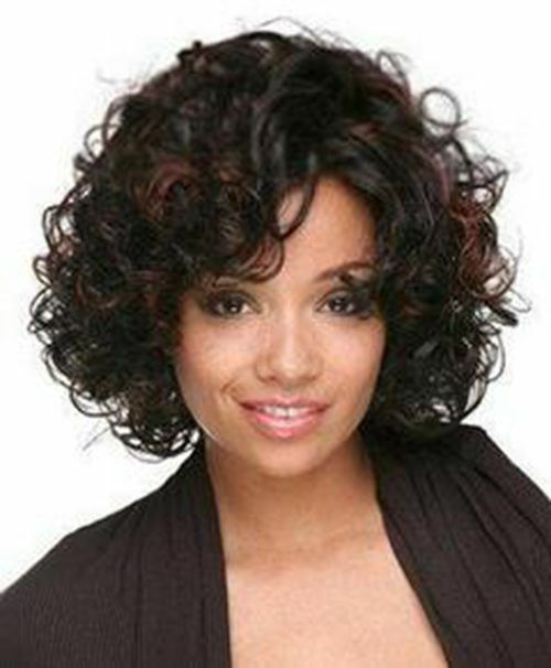 Latest Short Curly Hairstyles: New Fashion Wig Mixed Color Streaked Short Curly Hair Full