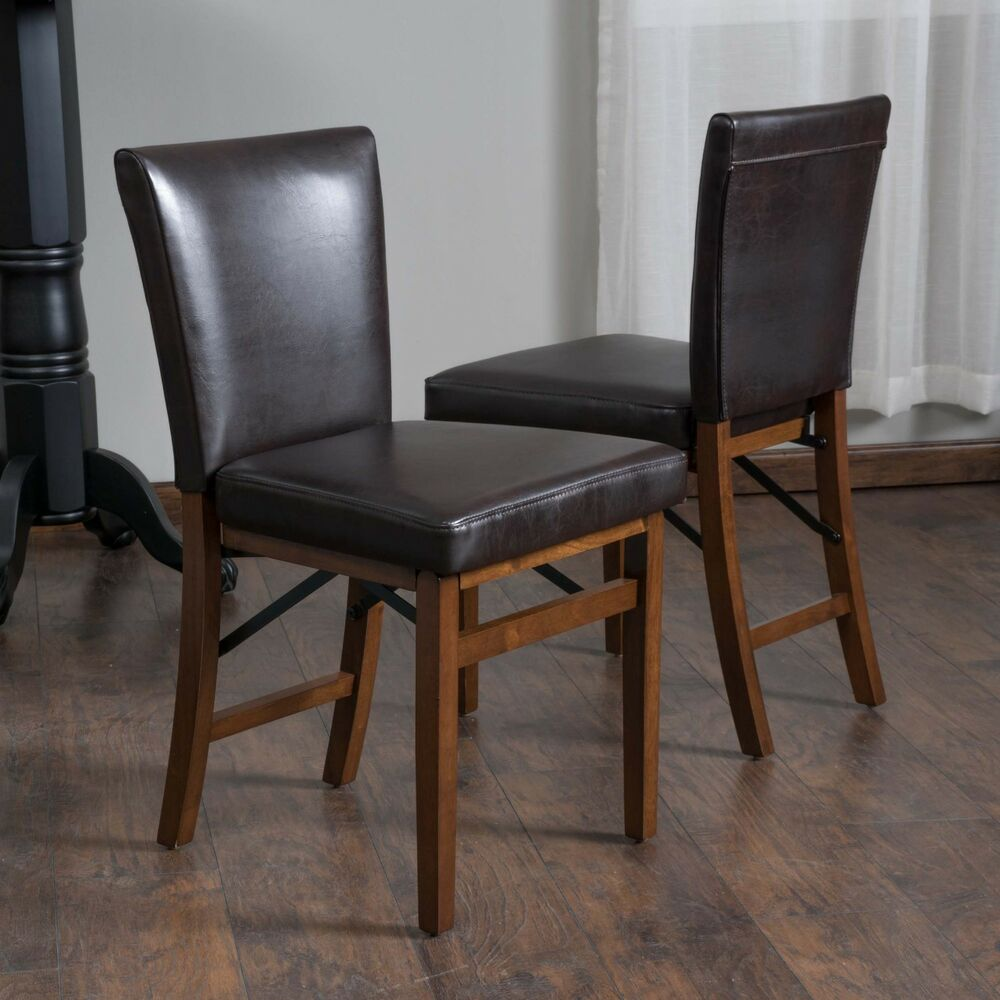 set of 2 dining room brown leather folding dining chairs ebay