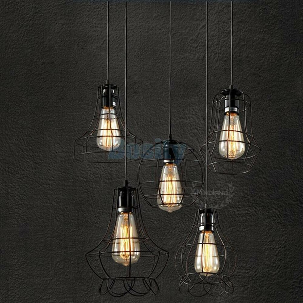 Edison vintage pendant ceiling light lamp fixture chandelier cage lamp shade ebay - Hanging bulb chandelier ...