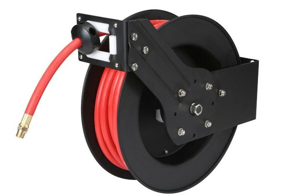 """50 ft Retractable Air Water Hose Reel with 3 8"""" Hose Shop Garage Auto ..."""