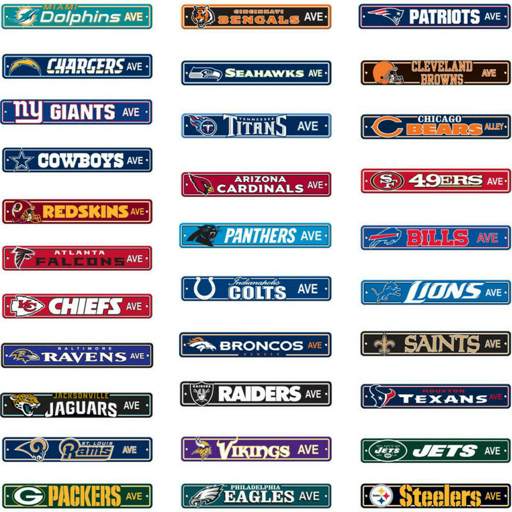 "NFL Street Sign (Choose Your Favorite Team Name) 4""x24 ..."