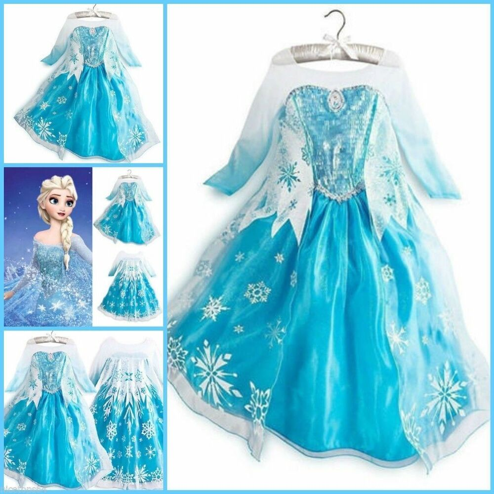 Robe de princesse la reine des neiges elsa d guisement frozen dress fancy ebay - Princesse des neige ...