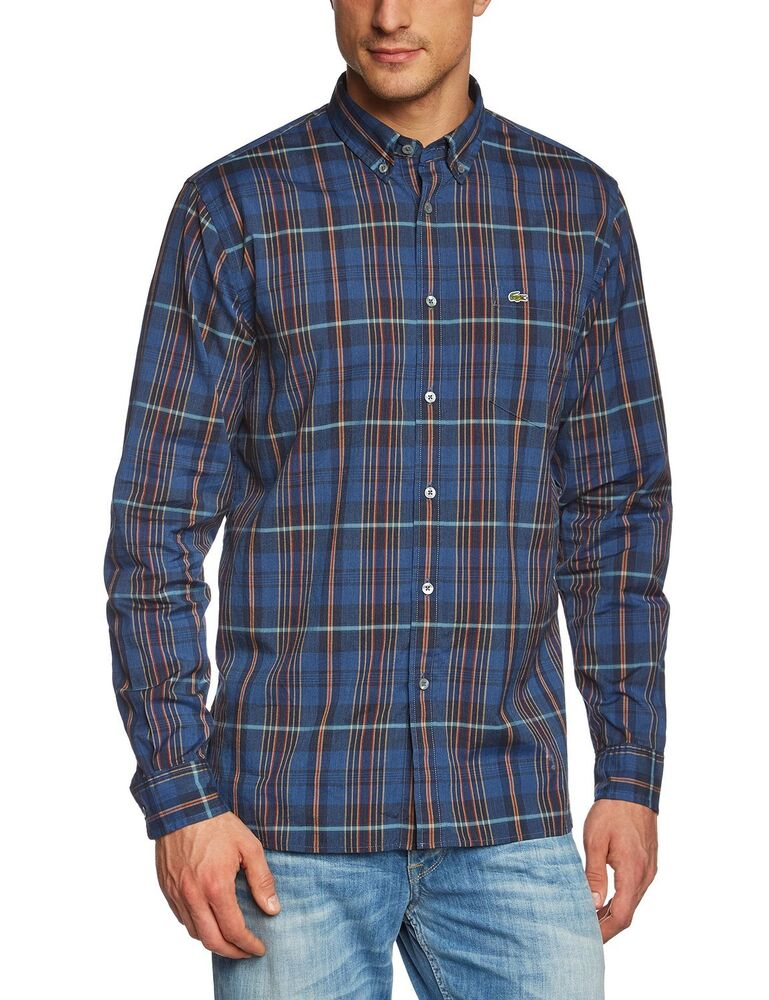 Lacoste men 39 s medium plaid casual button down 100 cotton for Mens long sleeve button down shirts