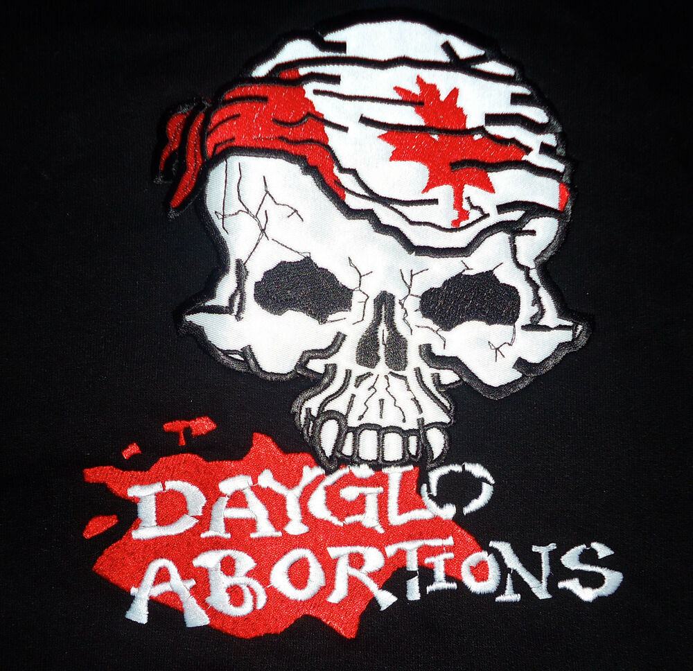 Details about dayglo abortions canadian skull w white hoodie new s m hardcore punk