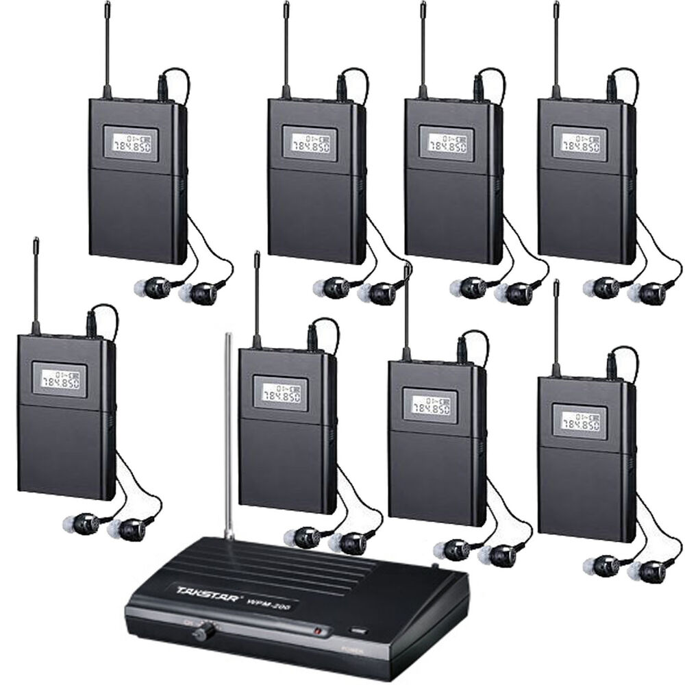 pro uhf 6 ch wireless in ear headphone stage monitor system with many receiver ebay. Black Bedroom Furniture Sets. Home Design Ideas
