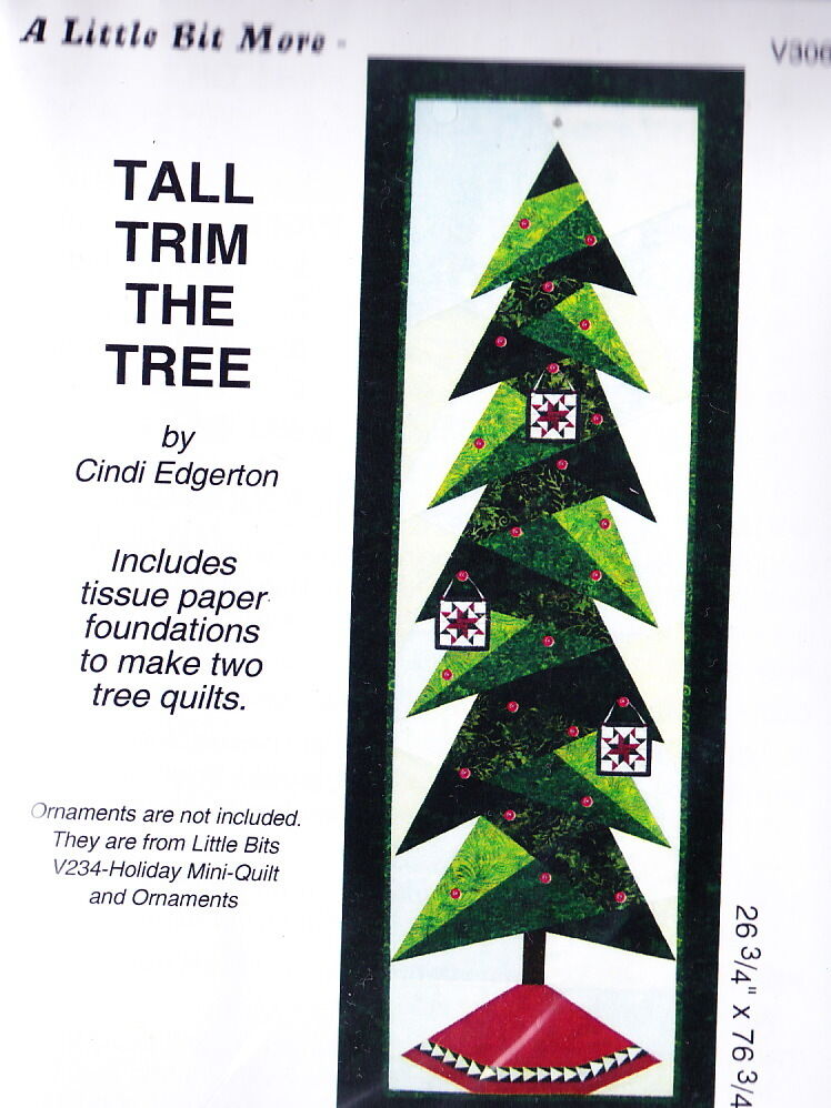 Tall trim the tree fun christmas foundation pieced wall