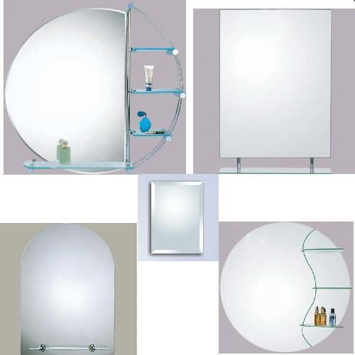 WALL BATHROOM MIRROR MIRRORS WITH WITHOUT SHELF SHELVES Round Rectangular Mod