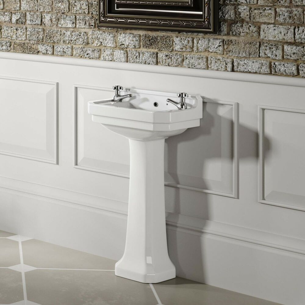 Small Basin With Pedestal : Traditional Ceramic Small Full Basin & Pedestal Bathroom Sink Set ...