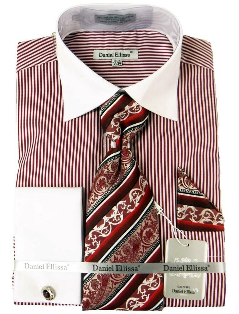 Mens Daniel Ellissa Striped Burgandydress Shirt French