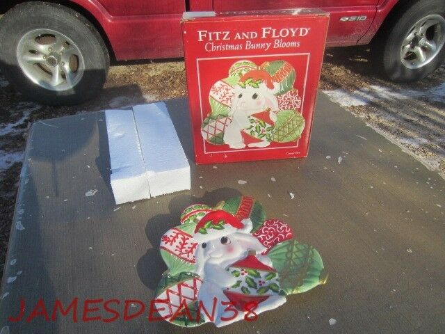 Fitz floyd christmas bunny bloom canape plate ebay for Fitz and floyd canape plate