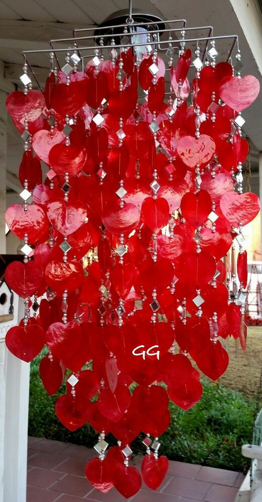 SOLAR CAPIZ SHELL WINDCHIMESCHANDELIER RED HEART CAPIZ