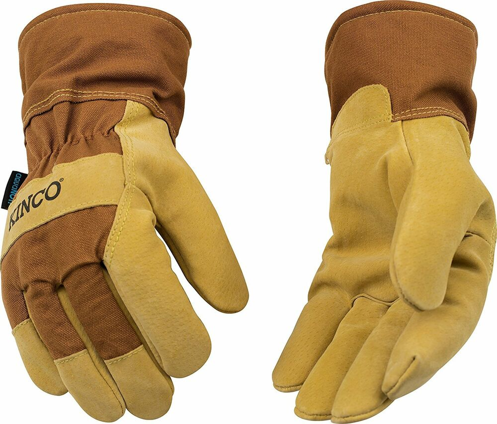 Kinco 1958 Pigskin Leather Mens Work Gloves Waterproof
