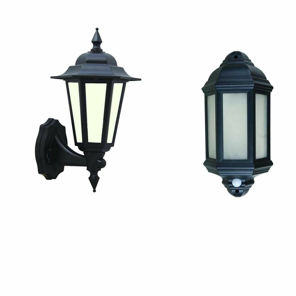 Wall Lantern External : LED Outdoor garden wall half lantern PIR black IP44 external 7 watt eBay