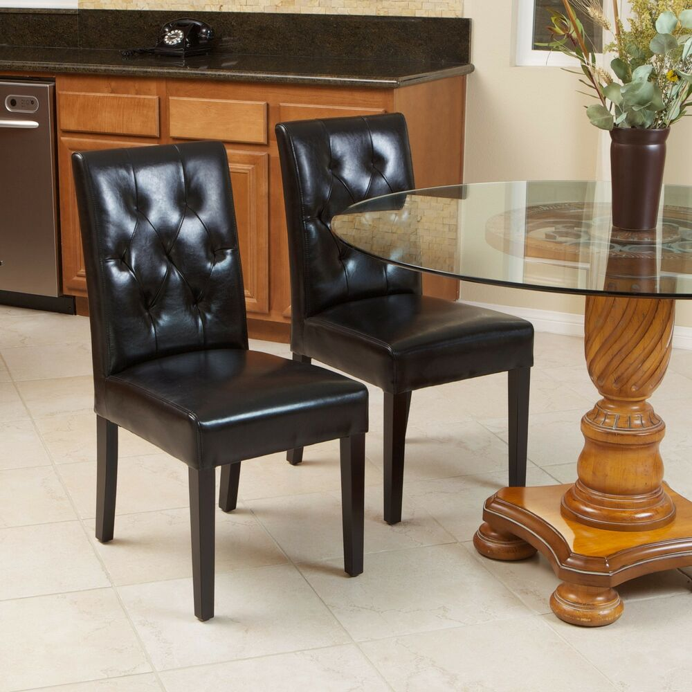 Set of 2 elegant black leather dining room chairs with for Leather dining room sets