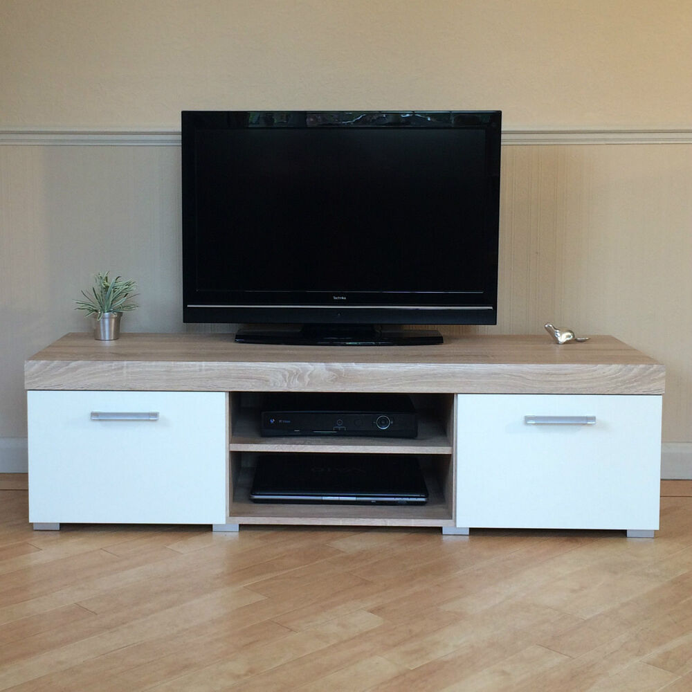 white sonoma oak effect 2 door tv cabinet plasma low bench stand 140cm unit ebay. Black Bedroom Furniture Sets. Home Design Ideas