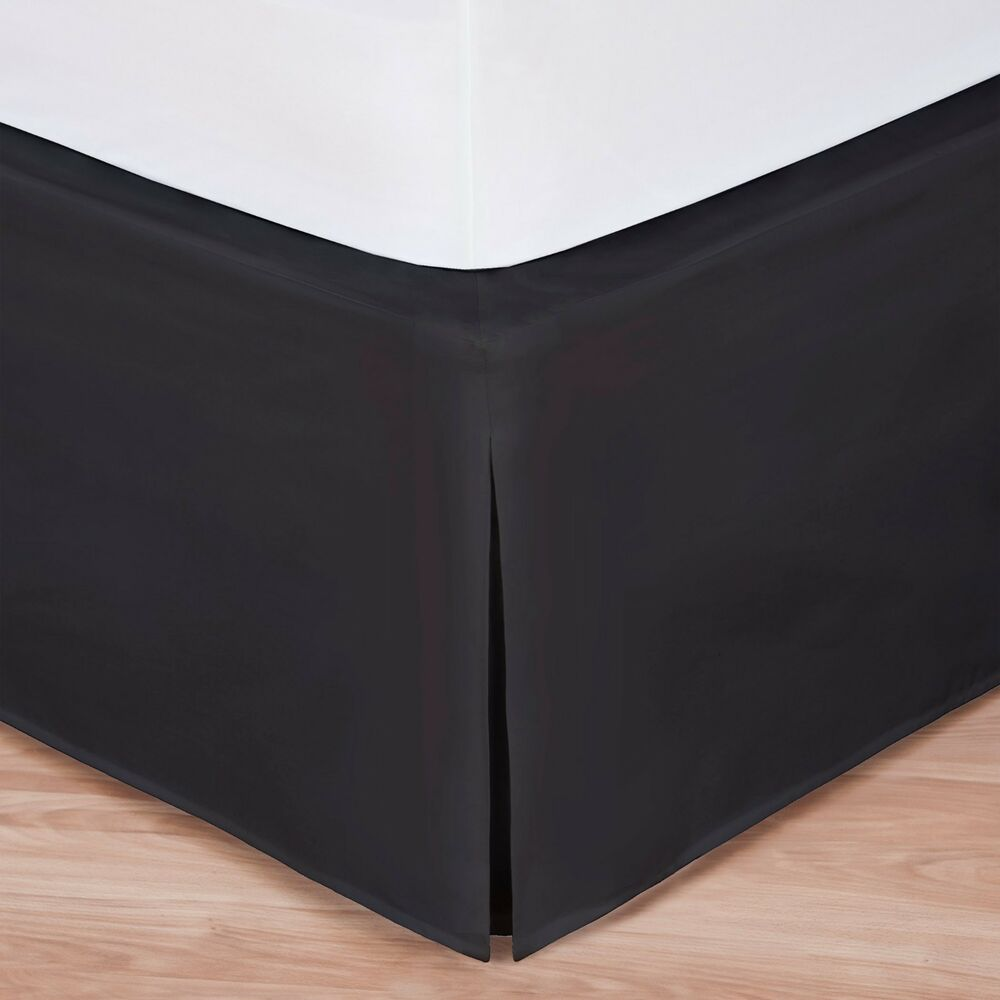 Black luxury hotel bed skirt tailored pleat 14 drop ebay for Luxury hotel 660 collection bed skirt
