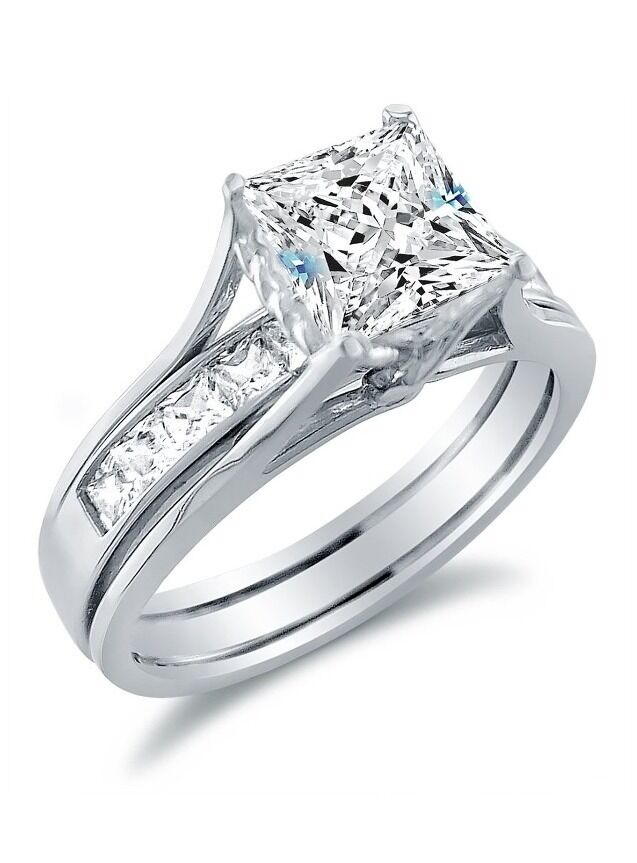 Solid 925 Sterling Silver Bridal Set Princess Cut Solitaire Engagement Ring S