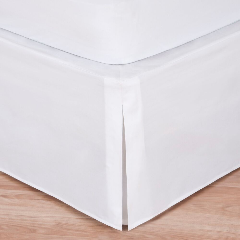 White luxury hotel bed skirt tailored pleat 14 drop ebay for Luxury hotel 660 collection bed skirt