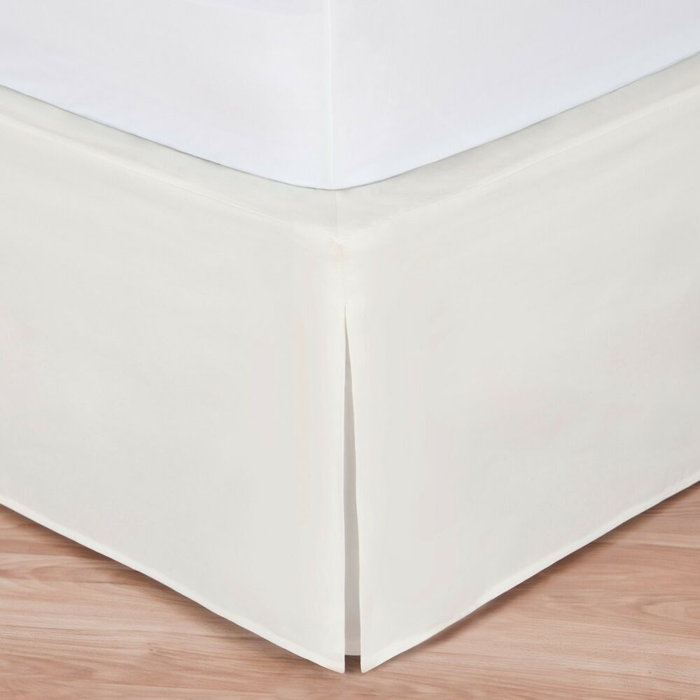 Ivory luxury hotel bed skirt tailored pleat 14 drop ebay for Luxury hotel 660 collection bed skirt