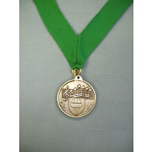 MUSIC notes silver medal award green neck drape
