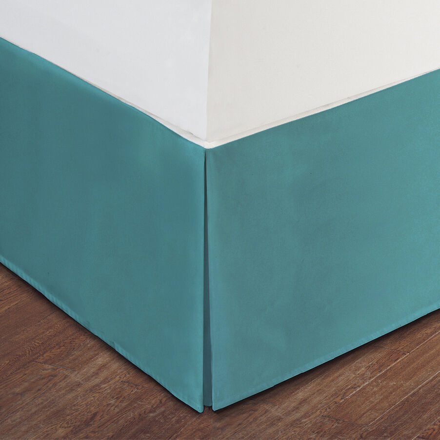 Turquoise luxury hotel bed skirt tailored pleat 14 drop for Luxury hotel 660 collection bed skirt