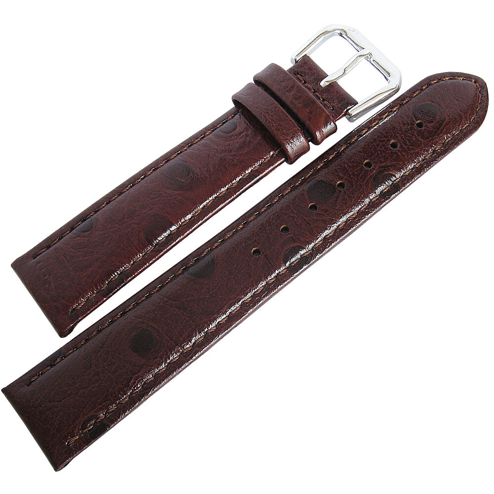 18mm debeer mens brown ostrich grain leather watch band strap ebay for Leather strap watches