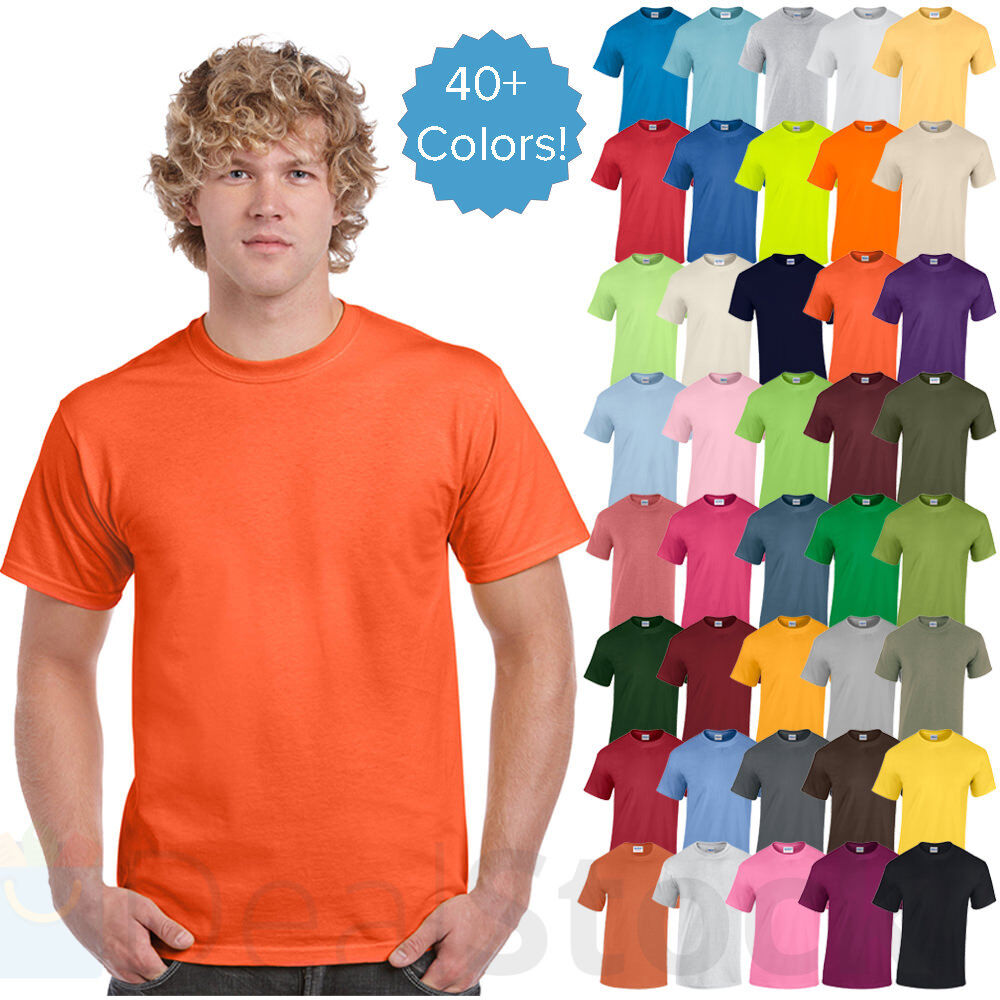 Gildan mens plain t shirts solid cotton short sleeve blank for One color t shirt