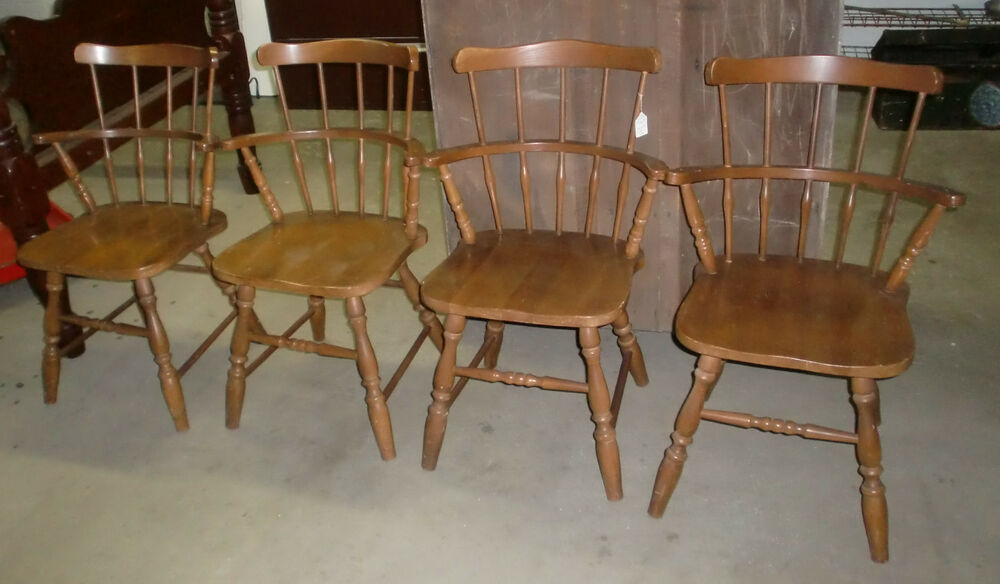 Set Of 4 Maple Barrel Back Armchairs Dining Room Chairs Made In The USA EBay