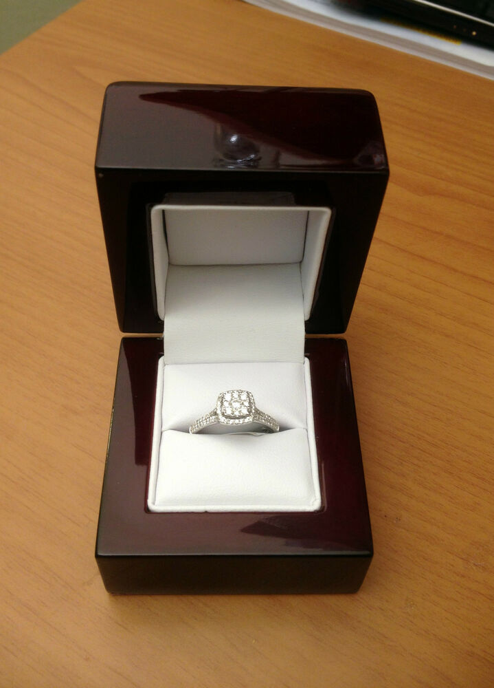 cherry wood white leather engagement ring box great