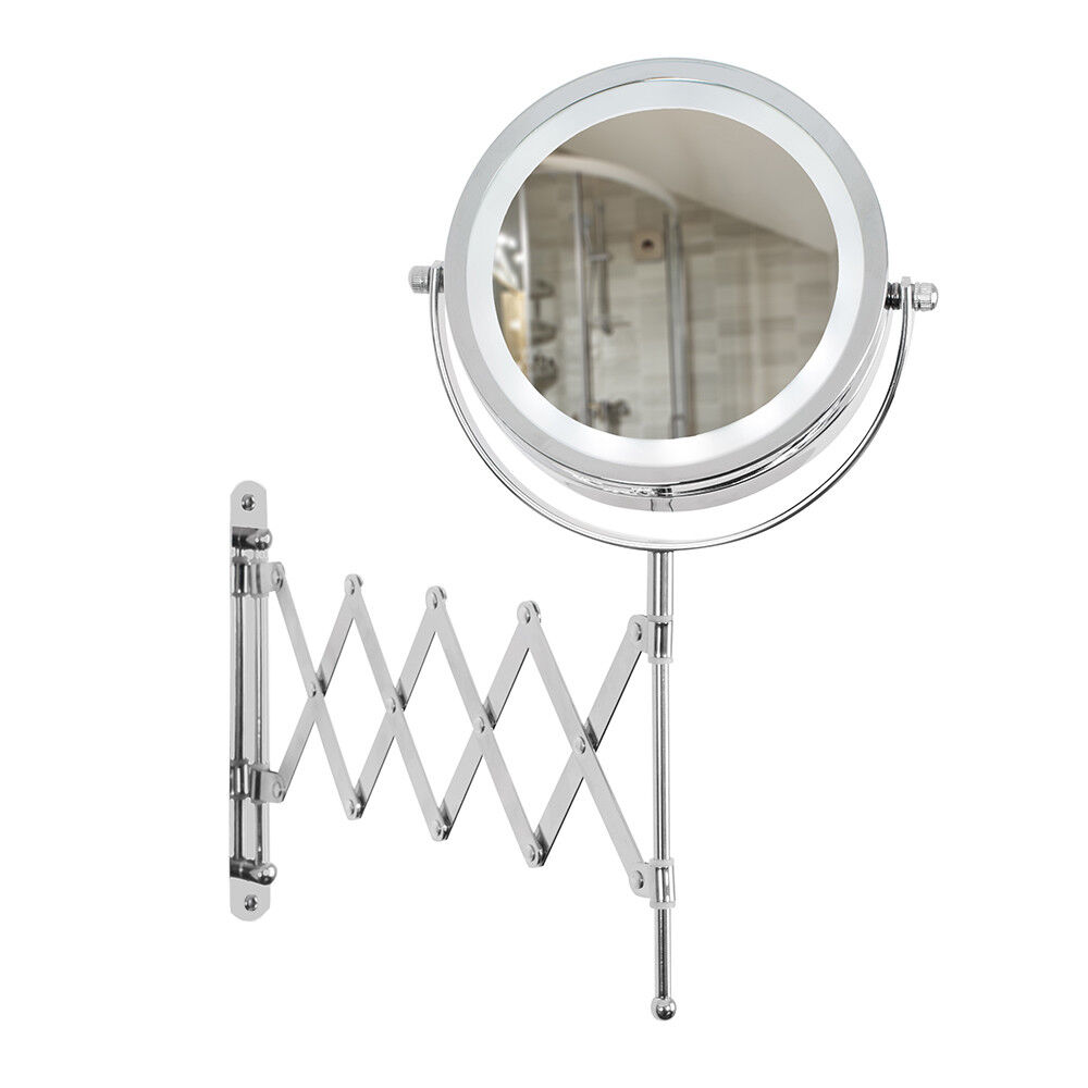 extension bathroom mirror extending wall mounted battery led bathroom cosmetic 12810