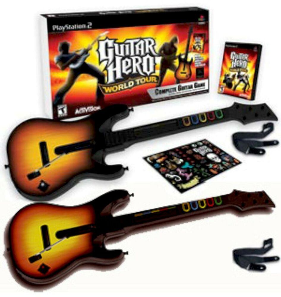 ps2 guitar hero world tour w 2 guitars bundle set kit. Black Bedroom Furniture Sets. Home Design Ideas
