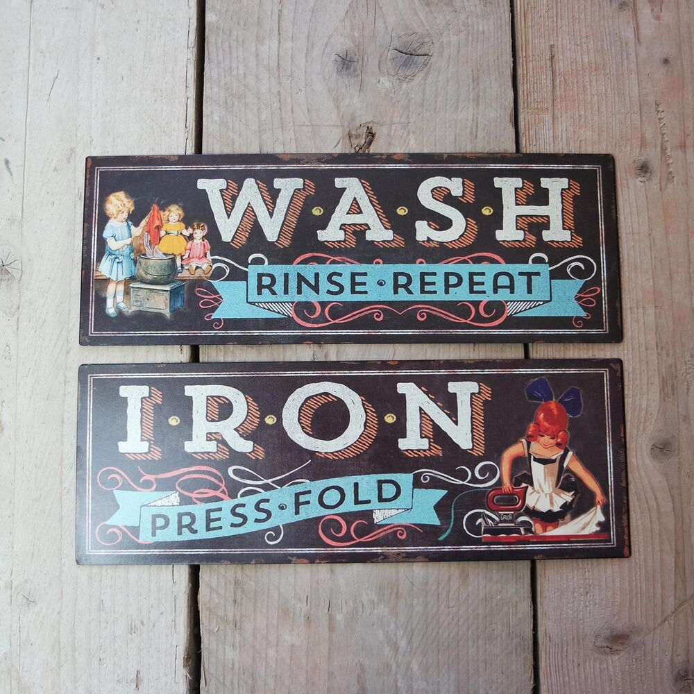 Shabby Vintage Retro Metal Plaque Laundry Wash Iron Black