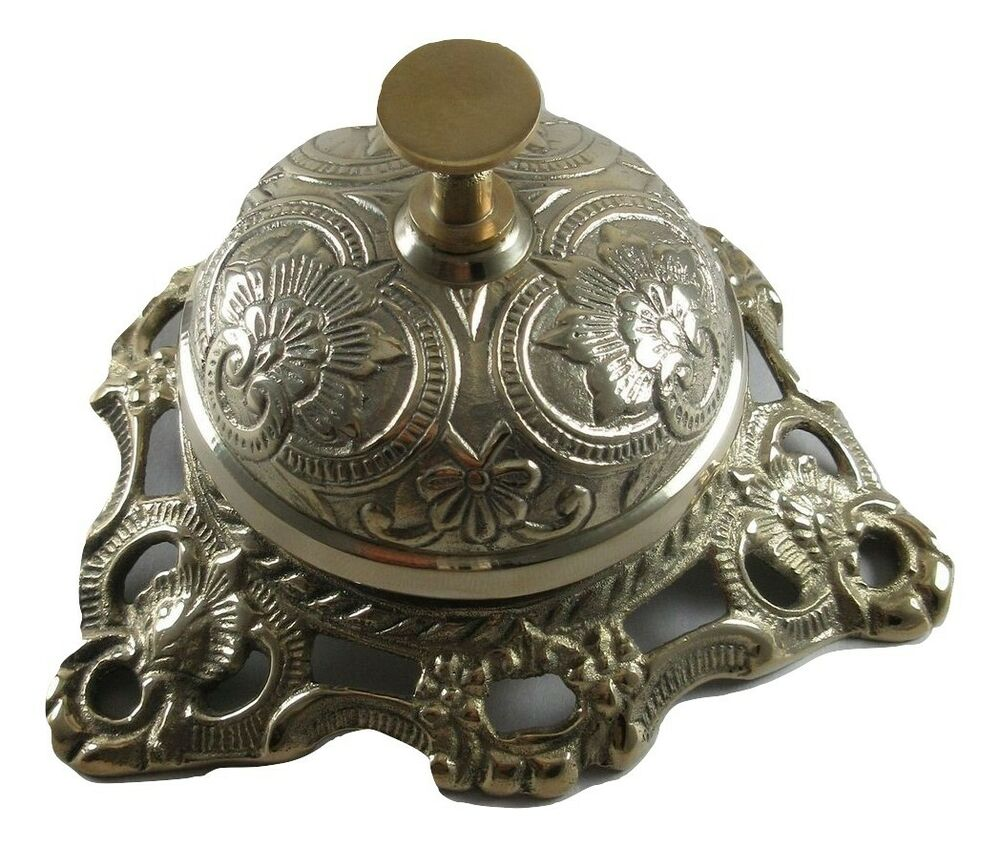 ornate solid brass hotel counter bell service desk bell