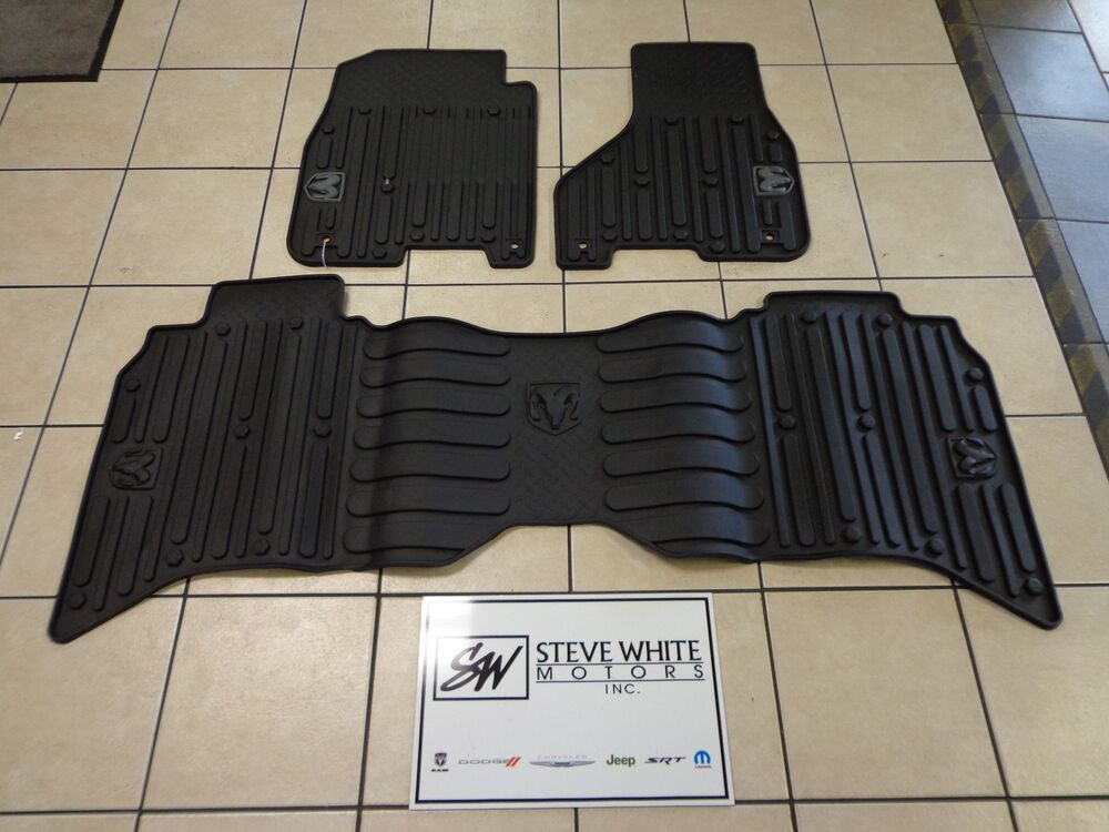 13 16 Dodge Ram Crew Cab New Slush All Weather Mats Front Amp Rear Black Mopar Oem Ebay
