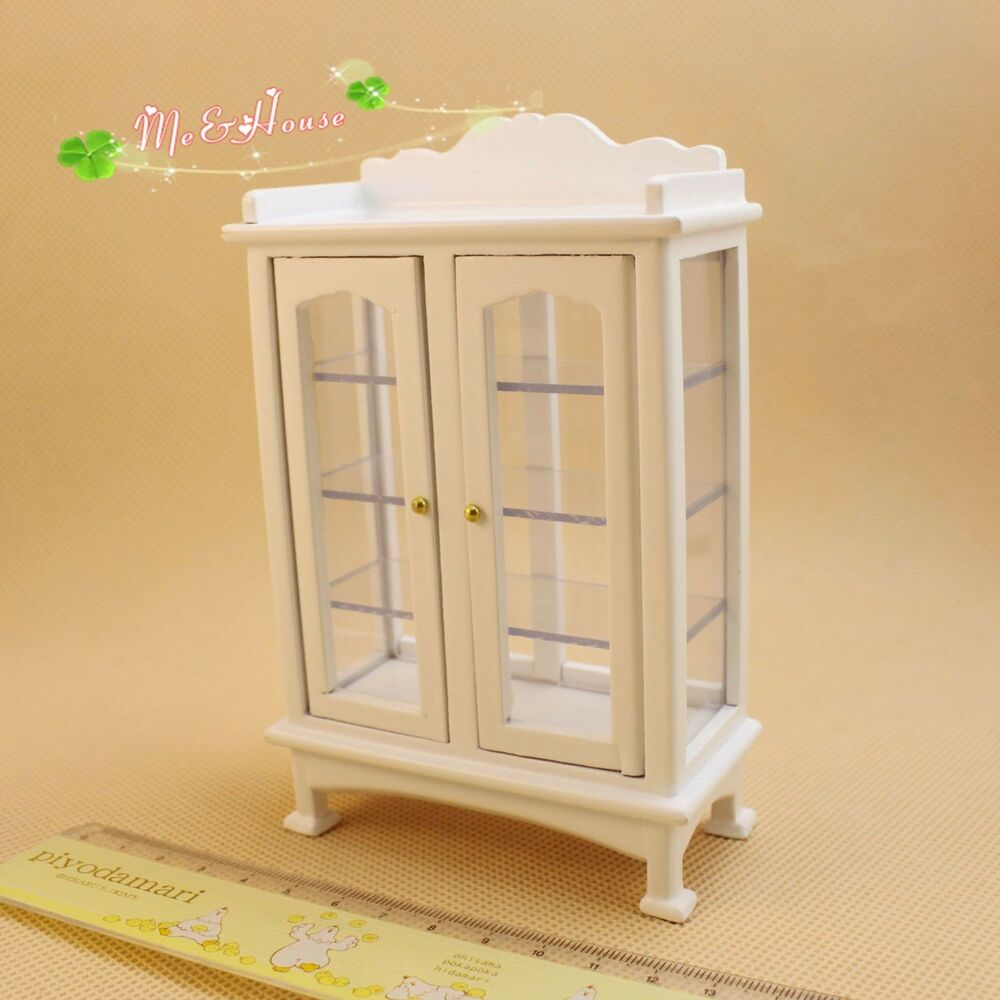 1 12 dollhouse miniature furniture modern white wooden display cabinet ebay Dollhouse wooden furniture