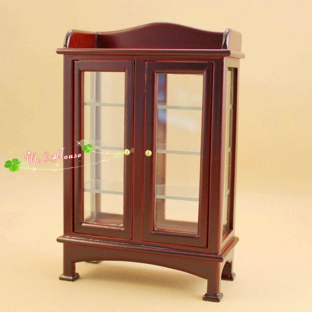 1 12 Dollhouse Miniature Furniture Wooden Display Cabinet Ebay