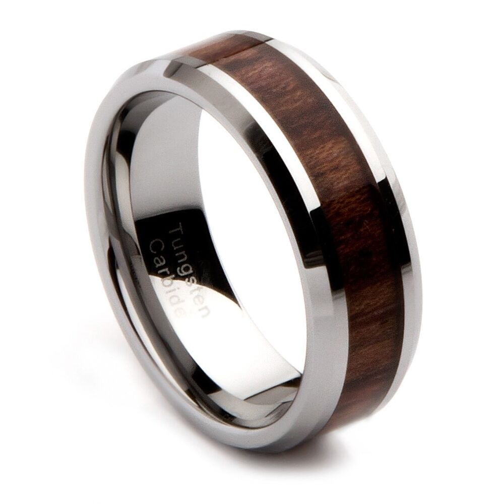Wood Mens Wedding Bands: Mens Tungsten Carbide Wedding Band With Oak Wood Inlay