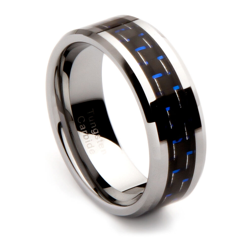 Mens Tungsten Carbide Wedding Band With Black And Blue Carbon Fiber Inlay 8mm