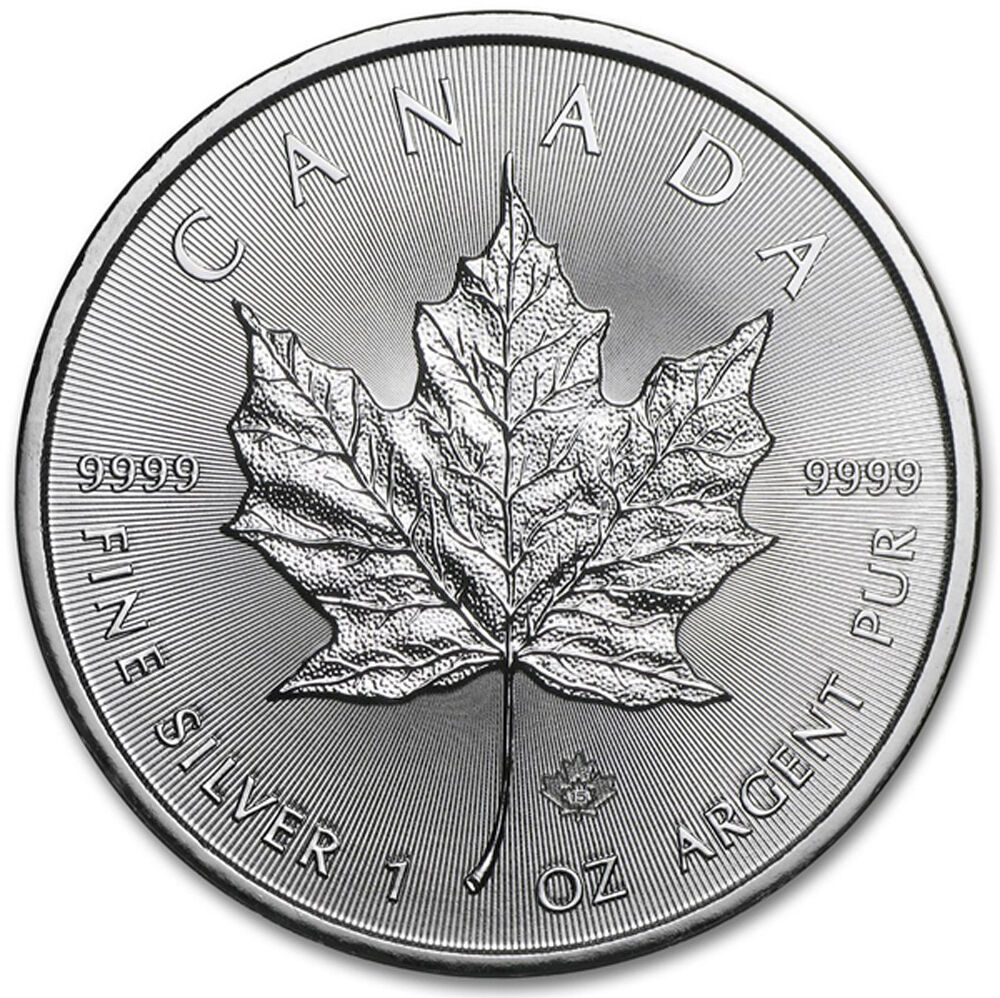 2015 1 Oz Canadian Silver Maple Leaf Coin 1 Troy Ounce Of