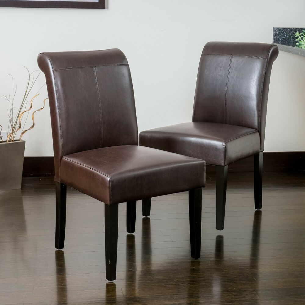 Set of 4 dining room furniture roll top brown leather for 4 dining room chairs ebay