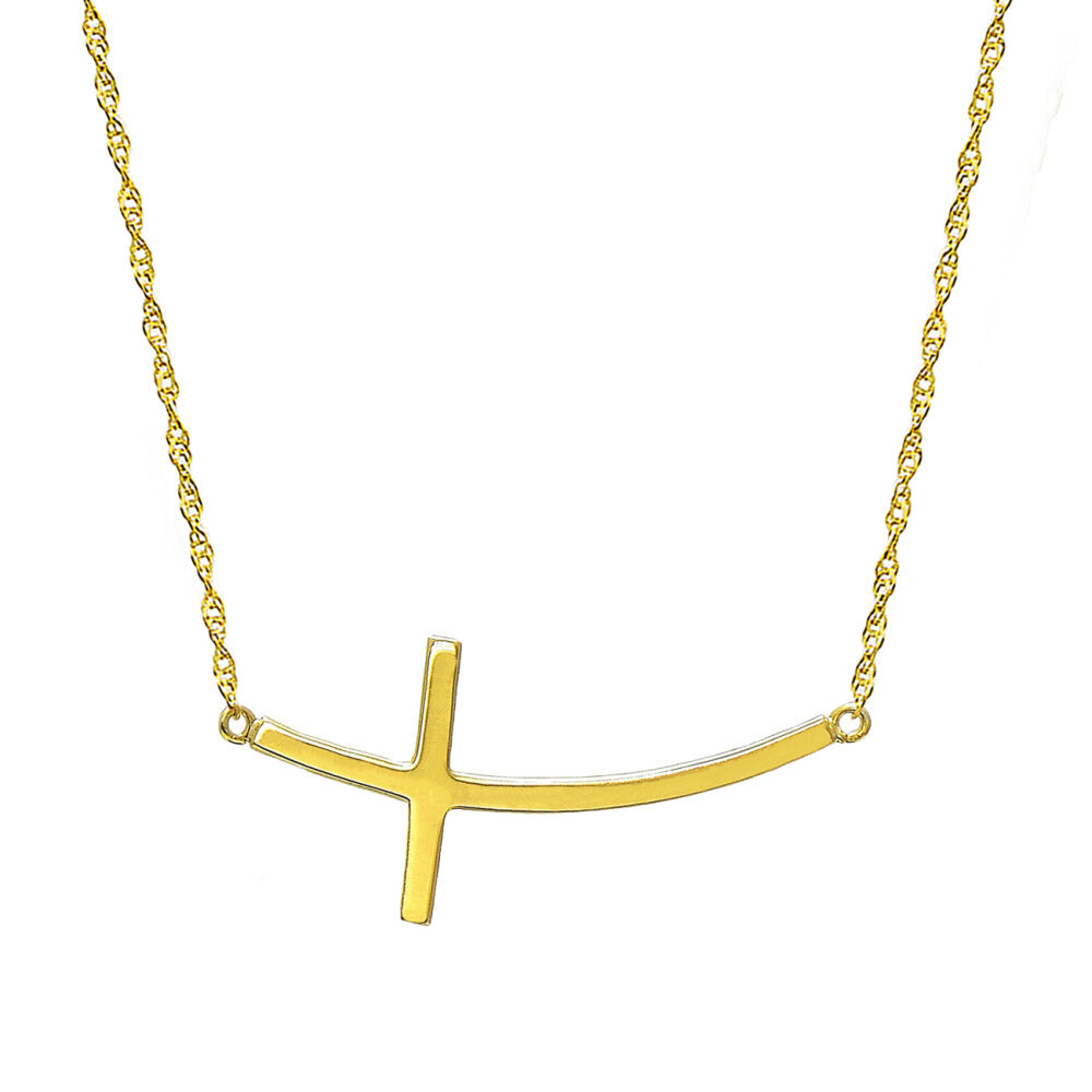 10k yellow gold horizontal curved cross necklace ebay