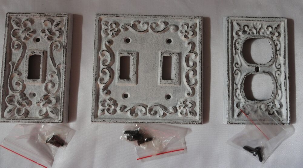 Cast Iron Switch Plate Set Of 3 Antique White Outlet Plate