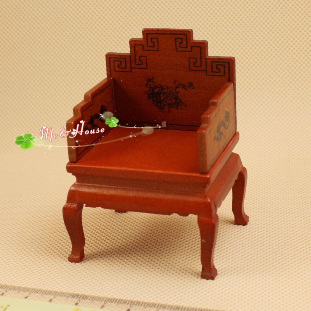 1 12 Dollhouse Miniature Furniture Ancient Vintage Chinese U Chair Wood 20010 Ebay