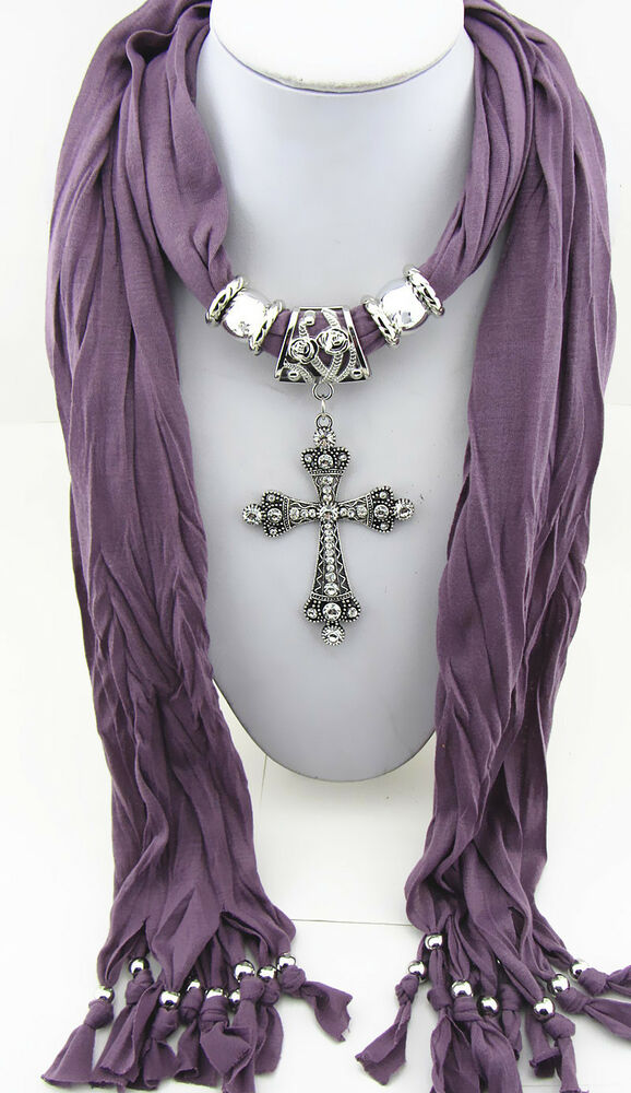 New Fashion Jewelry Cross Pendant Necklace Scarf Charms Scarves Shawl  Fashion Scarf With Pendant/ Charm
