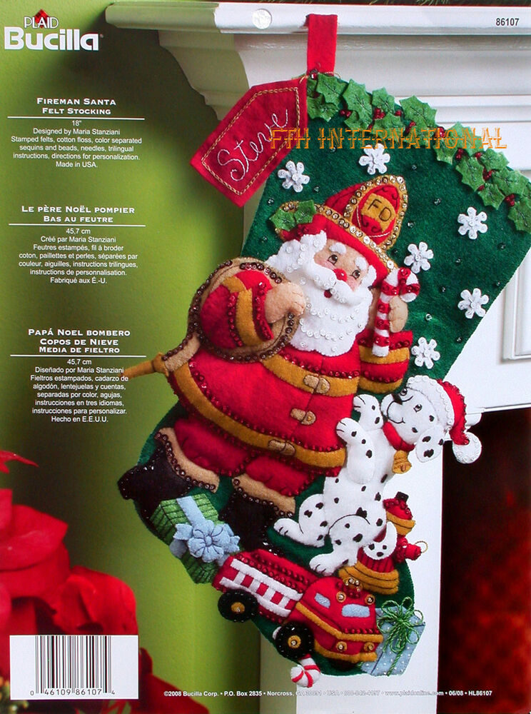 Bucilla Fireman Santa 18 Quot Felt Christmas Stocking Kit