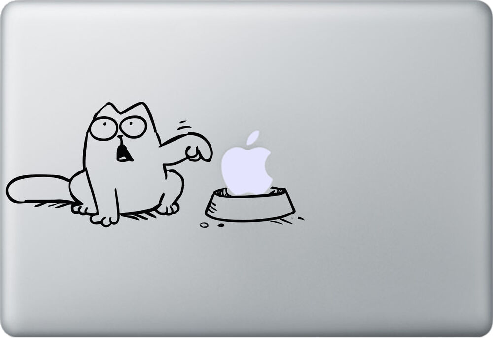 apple macbook air pro simon s cat aufkleber sticker decal skin katze ebay. Black Bedroom Furniture Sets. Home Design Ideas