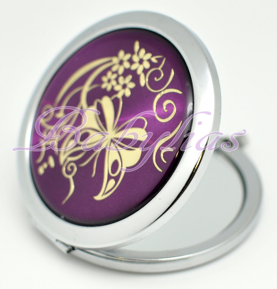 Wedding Bridal Shower Favors Purple Compact Mirror Butterfly Makeup ...