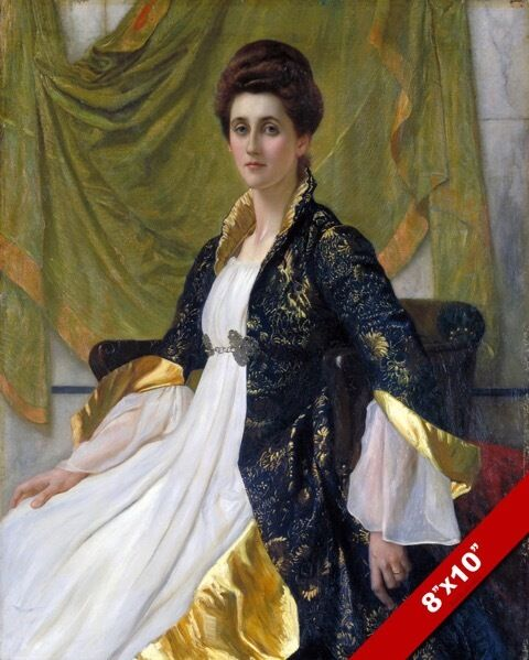 VICTORIAN ERA WOMAN IN ELABORATE DRESS PORTRAIT PAINTING ...