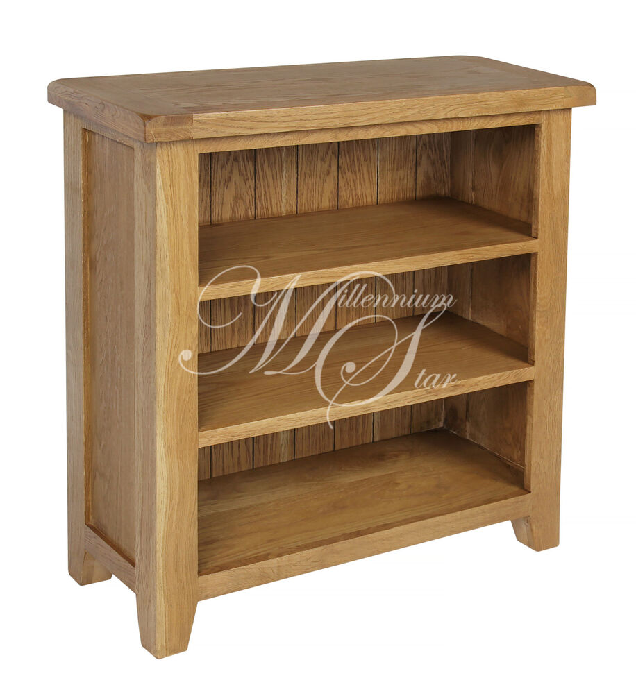 Solid Chunky Wood Rustic Oak Small Low Bookcase Display