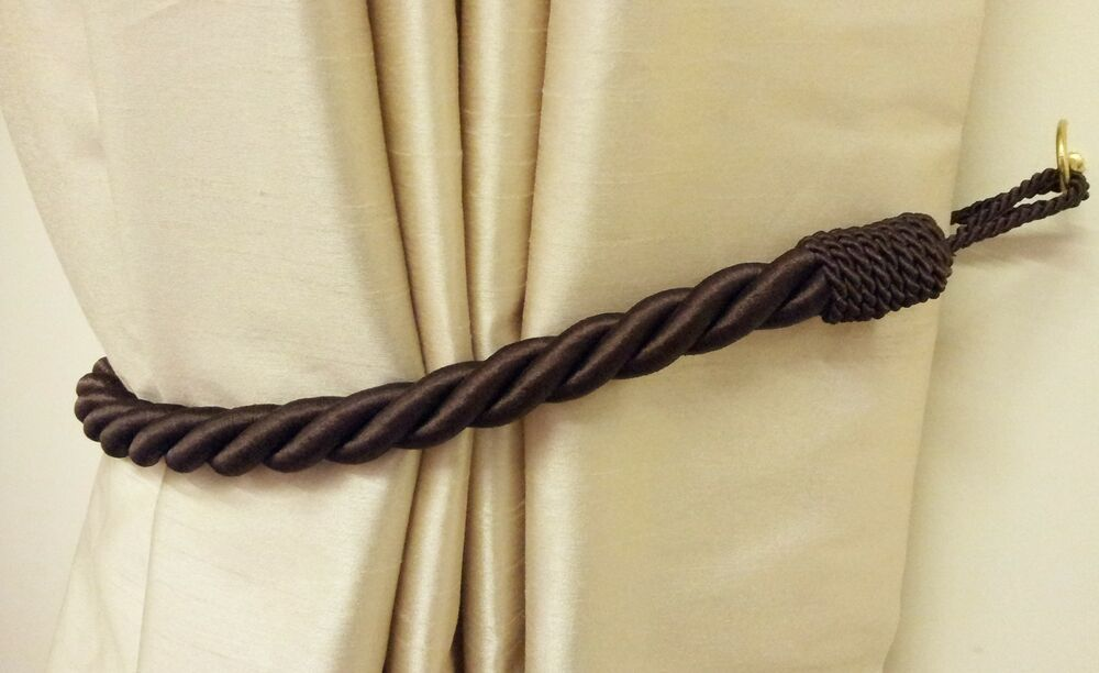 2 x chocolate brown thick large rope satin curtain drape